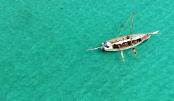 Vamizi - dhow from the air